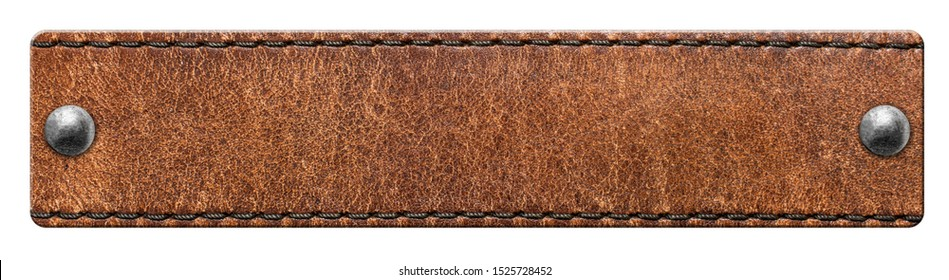 Leather label with rivets isolated on white background