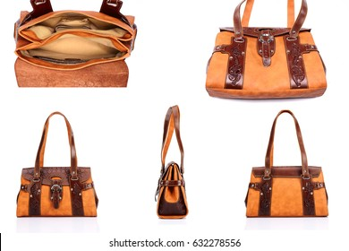 Leather ladies bag on a white background. Beautiful, fashionable, accessory, isolated. Interesting design, the texture of the skin. Comfortable handle.