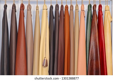 Leather material samples used for furniture inside inetrior design studio