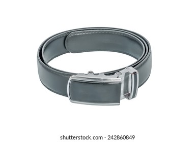 Leather men's belt with clasp isolated on white.