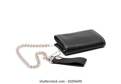 A leather mens wallet with wallet chain attached.