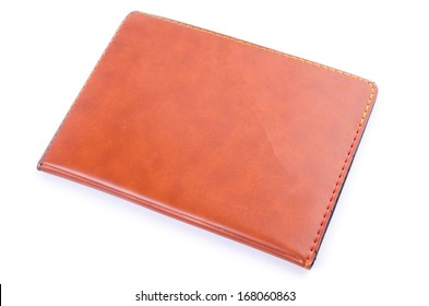 Leather note book on isolated white background