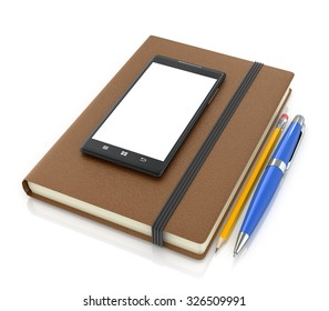 Leather notebook with smartphone pencil and ballpoint pen on a white background.