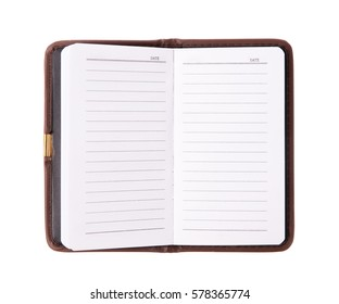Leather notebooks isolated on white background