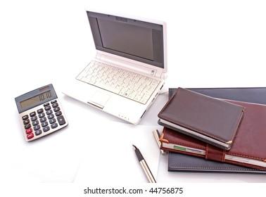 Leather notebooks on white background