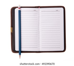 Leather notebooks with a pencill isolated on white background