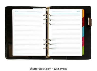 leather open notebook isolated on white background