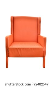 Leather orange chair isolated