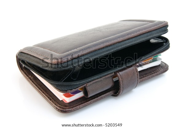Leather organizer with calendar and adressbook isolated over white background