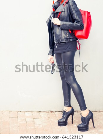847545cce010a Leather pants, black bright high elastic Women's patent leather leggings  and a black leather jacket