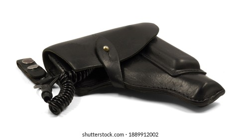Leather pistol holster with strap