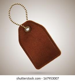Leather price tag illustration - raster version