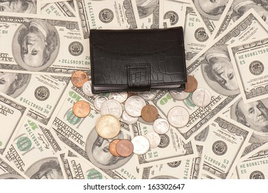 Leather purse cards on background of American money. Studio photo
