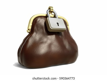 Leather Purse for Coins with Lock - Financial Concept. 3D illustration
