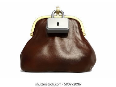 Leather Purse for Coins with Lock front view. Financial Concept. 3D illustration