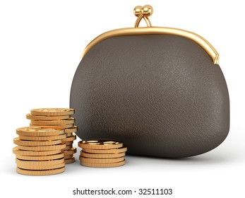 leather purse and golden coins