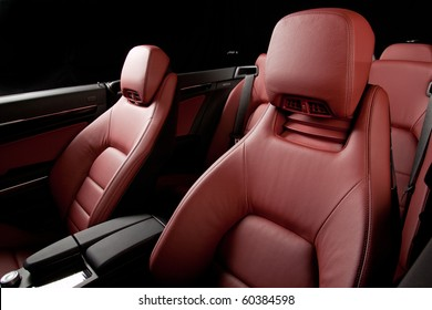 Leather red interior car.
