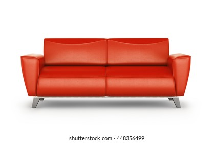 leather red sofa with aluminum legs isolated on white background. 3d illustration