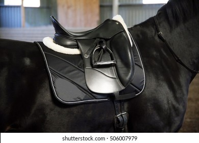 Leather saddle for equestrian sport on a back of a horse