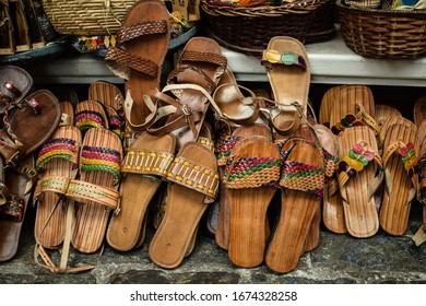 leather sandals for sale at the Aracaju handicraft market