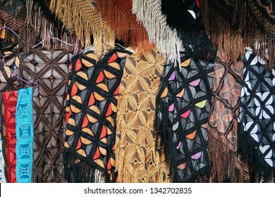 Leather scarves and shawls in the market in Cotacachi, Ecuador