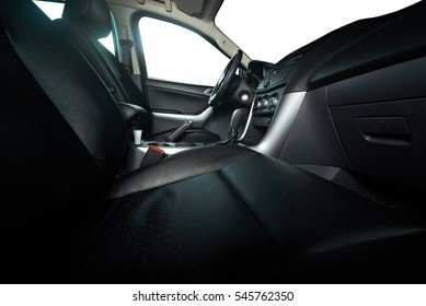 Leather seats in modern pickup truck with isolated windows