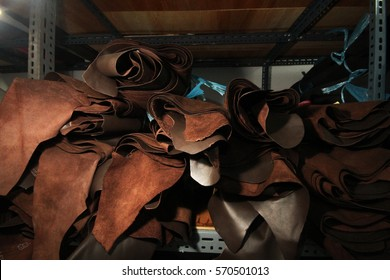 Leather selection collection  / stock of leather for customer in design phase of textile manufacturing business