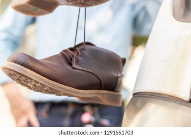 c0e28835b12f Leather Shoes Hanging Things Stock Photo (Edit Now) 1291551709 ...