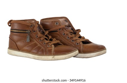 leather shoes isolate blackground for second hand