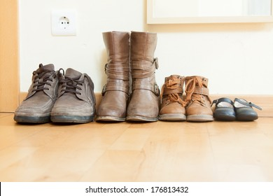 leather shoes  on  floor in home