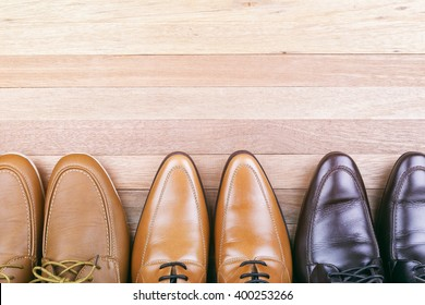 Leather Shoes on wood Background, Men fashion