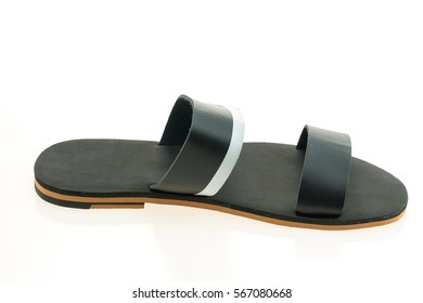 Leather shoes and sandal for men isolated on white background