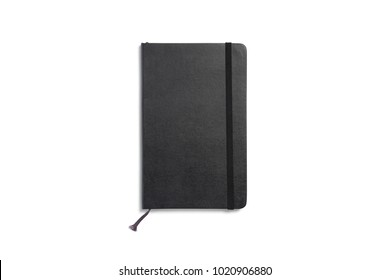 Leather sketchbook with blank cover isolated on white. 3d illustration for your cover design presentation or separate object for your work materials.