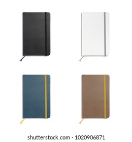 Leather sketchbooks with blank covers isolated on white. 3d illustration for your cover design presentation or separate object for your work materials.