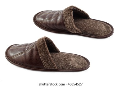 Leather slippers isolated on the white background