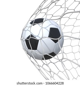 ?rdinary leather soccer ball inside the net, in a net. Isolated on white background. 3D Rendering, Illustration.