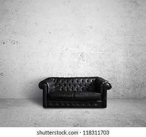 leather sofa in concrete room
