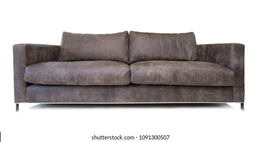 Leather sofa isolated on white background
