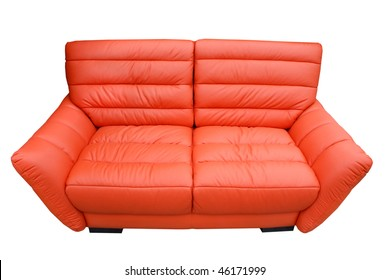 A leather sofa isolated on white background