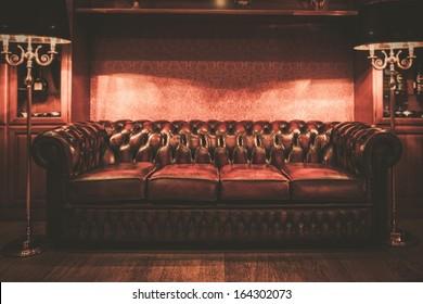 Leather sofa in vintage style luxury interior