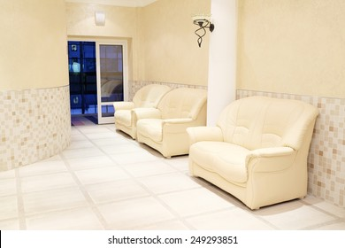 leather sofas in the waiting room