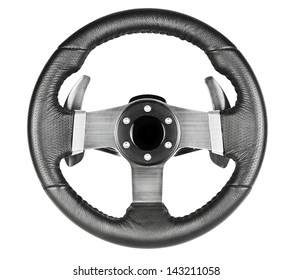 Leather steering wheel isolated on white