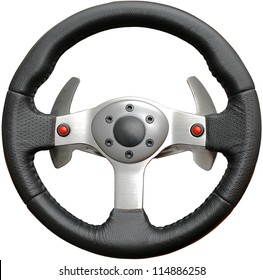 Leather steering wheel play isolated on a white background