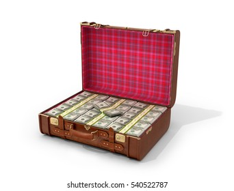 Leather suitcase with money on a white background. 3D illustration