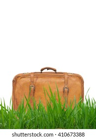 leather suitcase standing
