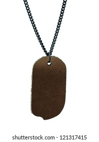 leather tag with black chain isolate on white