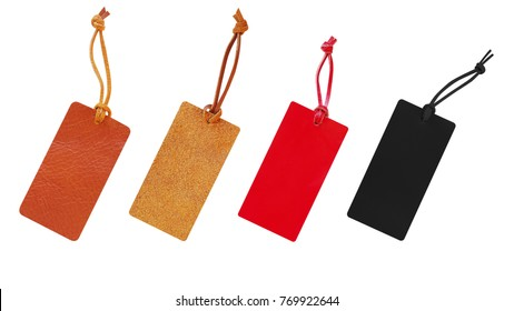 Leather tags with leather cord set, price tag for christmas, new year and black friday sale isolated on white background, clipping path included.