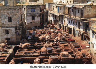 Leather tanneries in Fes, Morocco