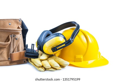 leather toolbelt gloves earphones and helmet