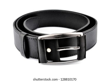 Leather trouser belt isolated